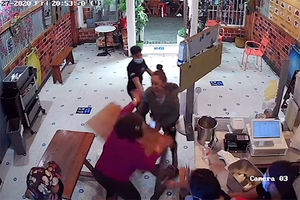Hero granny knocks down irate
