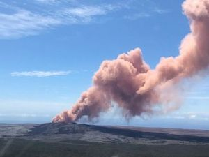 Lava from volcano's eruption
