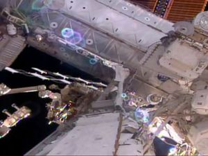 Spacewalking astronauts prep