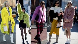 Showgoers Wore Colorful, Cozy