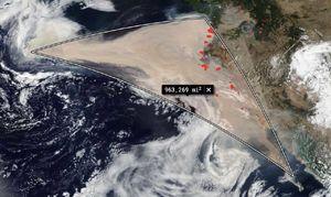 Smoke plume from California
