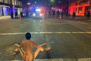 Protester dubbed 'Naked