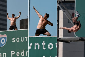 Man in underwear scales LA