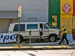 Van plows into diners on Los