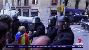 Catalan protesters clash with